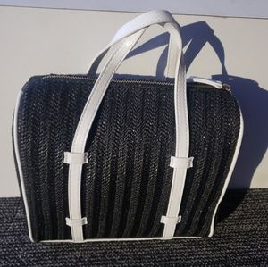 Who what wear black wicker handbag new with tags
